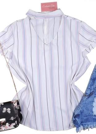 Blusa camisa feminina social gola choker listrada bs373