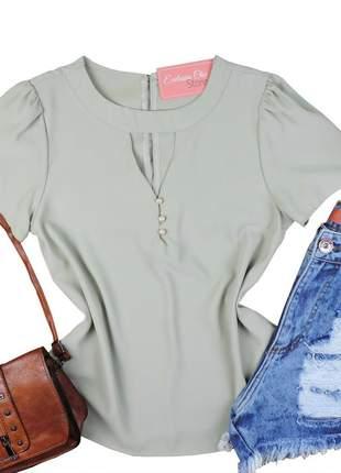 Blusa camisa feminina social gola choker verde clara bs415