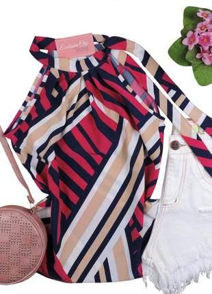 Blusa feminina regata estampada amarração gola rosa bs555