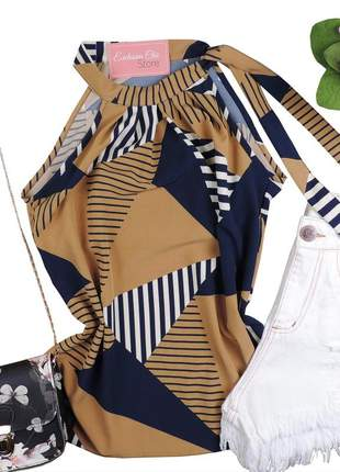 Blusa feminina regata estampada amarração gola bs559