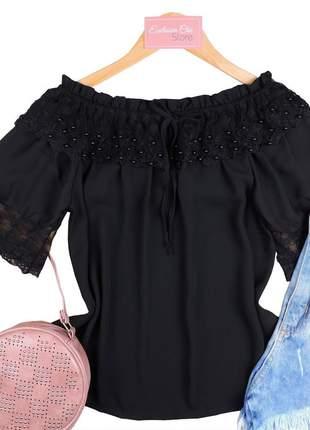 Blusa feminina social ciganinha tule preta bs659