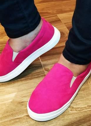 Slip on sapatenis tenis feminino camurça rosa pink