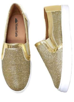 Slip on tenis feminino sapatenis casual alpargata glitter dourado brilho