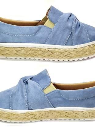 Tenis feminino slip on sapatenis casual alpargata camurça azul claro laço sola corda