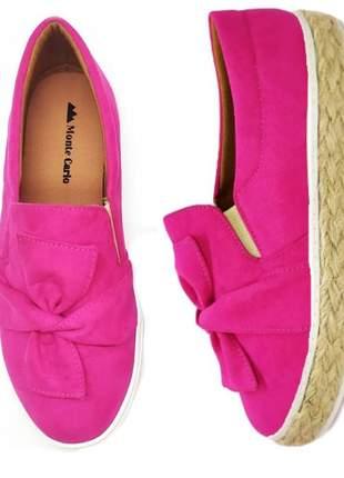 Tenis feminino slip on sapatenis casual alpargata camurça rosa pink laço sola corda