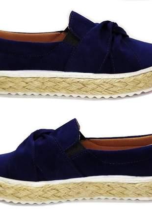Slip on tenis feminino sapatenis casual alpargata sapatilhas camurça laço sola corda