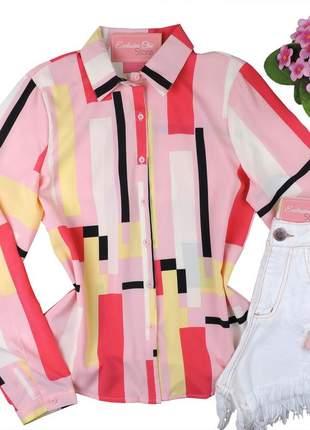 Blusa camisa social feminina estampada manga longa cs42