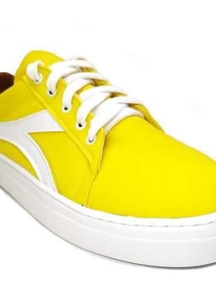 Tenis feminino sapatenis casual alpargata camurça amarelo sola flat