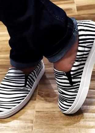 Slip on tenis feminino sapatenis casual alpargata animal print zebra sola flat 32 ao 43