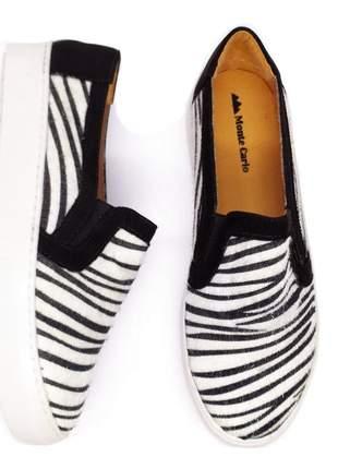 Slip on tenis feminino sapatenis casual alpargata animal print zebra preto  32 ao 43