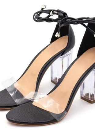 Sandalia amarrar vinil salto transparente  luxo
