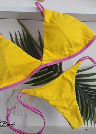 Biquíni retrô lacinho - amarelo e rosa