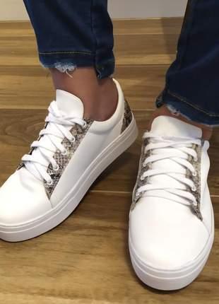 Tenis feminino sapatenis casual alpargata sintetico branco animal print cobra 32 ao 43