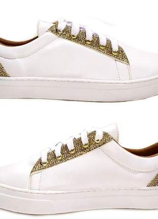 Tenis feminino branco sapatenis alpargata sintetico ecologico com glitter ouro 32 ao 43