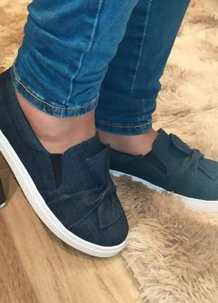 Slip on tenis feminino jeans azul escuro sapatenis casual alpargata sapatilha