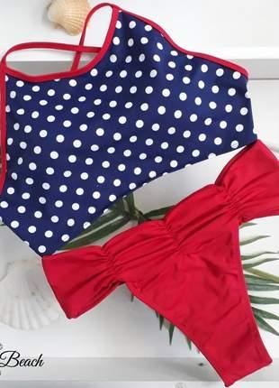 Biquíni cropped cinturão - poá azul e vermelho