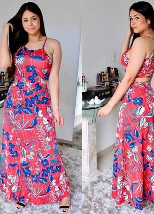 b560642a3c Vestido feminino longo estampado floral bojo festa verão