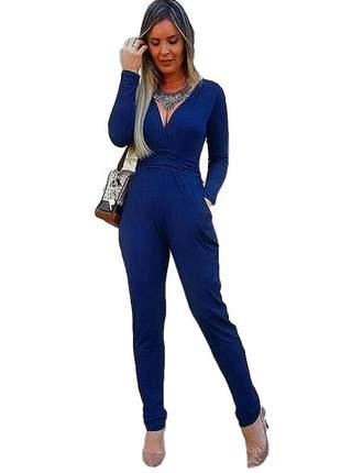 Macacão feminino manga longa decote malha azul escuro elegante inverno