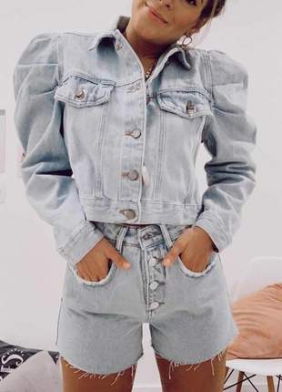 Jaqueta manga bufante jeans claro alcance jeans