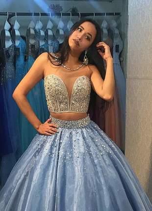 Vestido de debutante prata e azul - 2 em 1