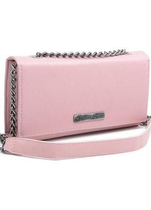 Bolsa clutch alça corrente mão/ transversal/ ombro rosa