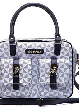 Bolsa maleta triangulos exclusiva branca com alça removivel