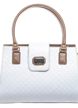 Bolsa tampa metalasse branca linda