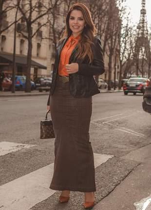 Saia jeans longa destroyed recortes cinto moda evangélica