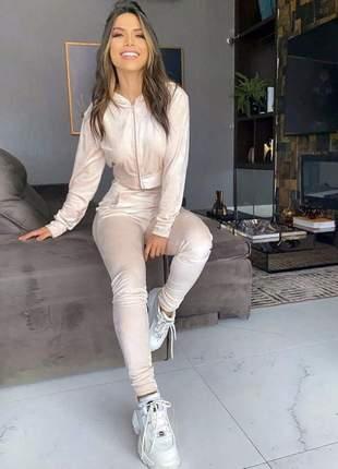 Conjunto calça e blusa veludo super confortável nude