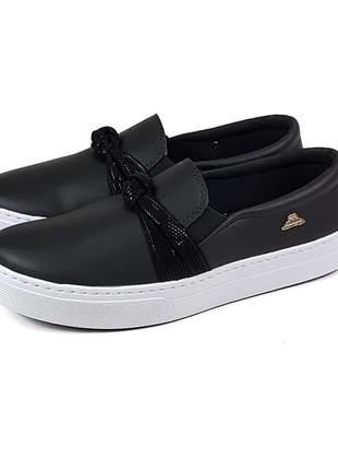 Tenis slip on sapatilha dia a dia detalhe brilho preto confortavel