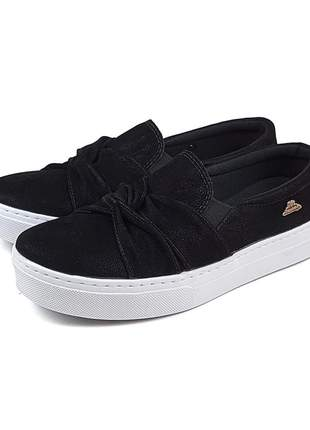 Tenis slip on sapatilha detalhe em x nobuke preto confortavel