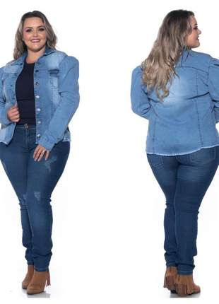 Jaqueta jeans plus size  clara manga princesa manga bufante