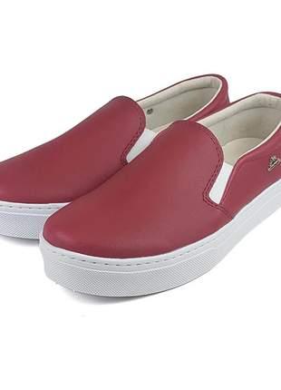 Tenis slip on sapatilha liso vermelho confortavel