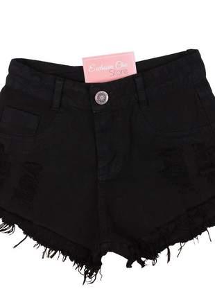 Short jeans feminino curto preto desfiado sh24