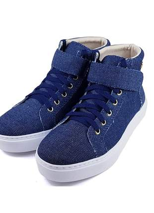 Tenis bota cano baixo jeans azul super confortavel