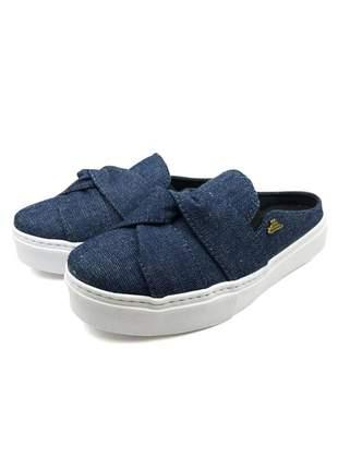 Tenis slip on mule babuche jeans azul lindo e confortavel dia a dia