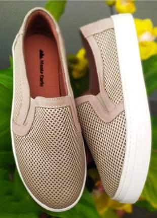 Slip on tênis feminino casual sapatilha alpargatas furadinho 32 ao 43