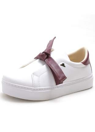 Tenis slip on sapatilha branco detalhe laço roxo lindo exclusivo