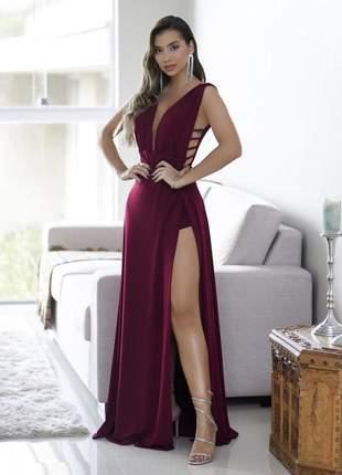 Vestido longo marsala madrinha formatura