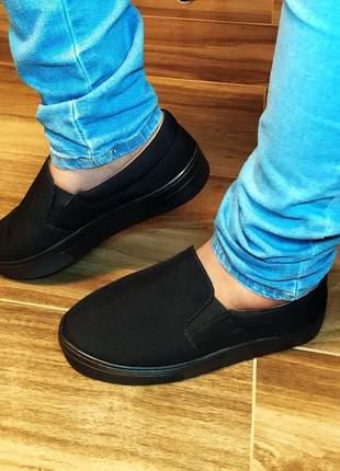 Slip on tenis feminino sapatenis casual alpargatas sapatilhas preto 32 ao 43