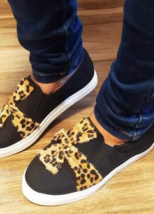 Slip on tenis feminino casual sapatilhas alpargatas preto animal print onça 32 ao 43
