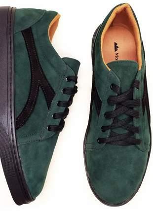 Tenis feminino sapatenis casual alpargata camurça verde e preto sola flat preta 32 ao 43