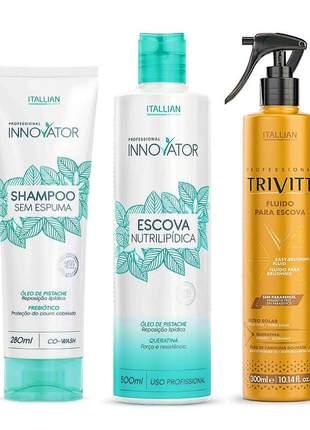 Kit scova nutrilipidica + shampoo sem sulfato + fluido trivitt