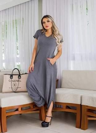 Macacão saruel cinza manga curta fashion com bolso