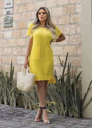 Vestido curto bolsinhos amarelo manga curta