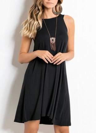 Vestido trapézio preto moda feminina pronta entrega