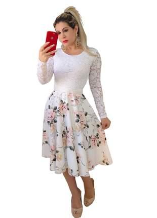 Vestido midi de noiva godê casamento civil com cinto brinde moda evangélica