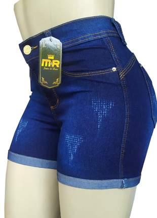 Shorts cintura alta jeans feminino com lycra