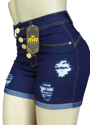 Shorts cintura alta jeans com lycra