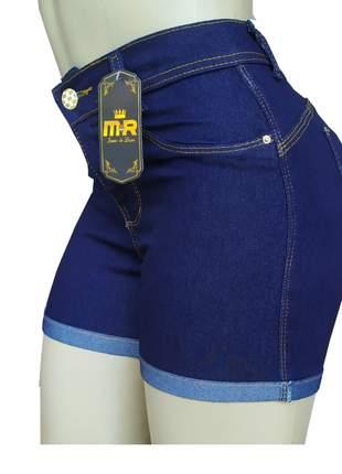 Shorts jeans cintura alta feminino lycra